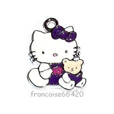 HK01// BRELOQUE CHARM PERLE / HELLO KITTY OURSON VIOLET / CREATION BIJOUX BRACEL
