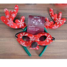 Xmas Party Reindeer Mask Antler Set Felt Rudolf Adult Ladies Kid Fancy Dress Red