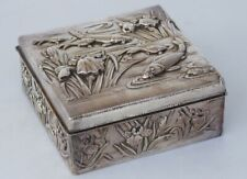 Japanese Silver Carp Fish & Iris Design Silver Box - Arthur & Bond
