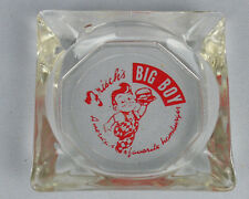 "VINTAGE FRISCH'S BIG BOY BURGERS AMERICA'S FAVORITE HAMBURGER 3.5"" GLASS ASHTRAY"