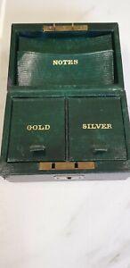 antique green leather cash box