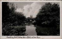 Magdeburg Sachsen Anhalt s/w AK ~1940 Adolf Mittag See mit Blick auf den Dom