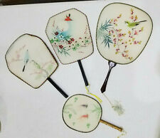 4 oriental fans, hand painted, delicate, vintage