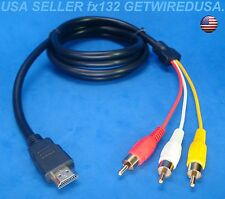 usa seller 3-RCA JACKS RED YELLOW WHITE to HDMI AUDIO VIDEO ADAPTOR 5FT AUX CORD