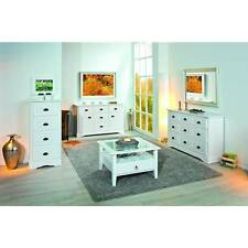 Commode avec 5 tiroirs et 2 portes coloris blanc en pin massif