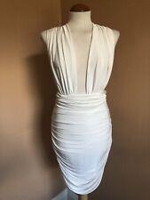"""Mini Vestido Missguided """"hágalo de todos modos"""" multivía Bodycon Grecian Blanco/Talla 10"""