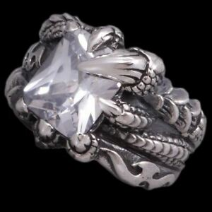 WHITE TOPAZ DRAGON CLAW FLAME FIRE WARRIOR 925 STERLING SOLID SILVER MENS RING