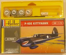 Heller 1/72 P40E Kittyhawk Aircraft Model Kit Gift Set w/ Paint & Glue