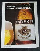 "1983 Andeker Lager Beer Pabst Brewing Co. Ad Slick Ad ""CLEARLY the BEER SUPREME"""