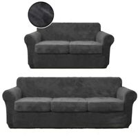 3/4Pcs Soft Velvet Couch Cover Loveseat Sofa Slipcover for Cushion Cover Protect