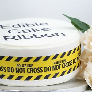 Police Line Do Not Cross Edible Icing Cake Ribbon / Side Strips 3 strips