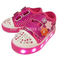Baby Shoes Boys' Shoes Light Up Girls Baby Toddler Glitter Strap Canvas Sneaker Tennis Shoe Pink Purple