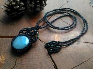 Macrame Necklace Labradorite Pendant Black Blue Natural stone