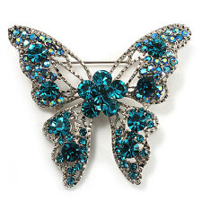78035564011 Avalaya Dazzling Teal Coloured Diamante Butterfly Brooch Silver Tone