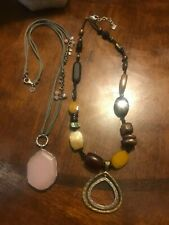 2 SILPADA 925 STONE NECKLACES 1 leather cord