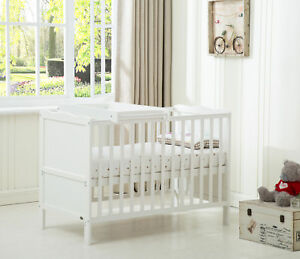 """MCC® Wooden Baby Cot Bed """"Orlando"""" with Top Changer & Water repellent Mattress"""