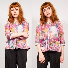 WOMENS VINTAGE 90'S PINK & WHITE FLORAL PRINT KNITTED CARDIGAN SHEER CUTE 16 18