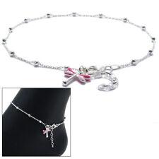 """Pink Dragonfly Ankle Bracelet Anklet 925 Sterling Silver 9""""-10"""" Adjustable"""