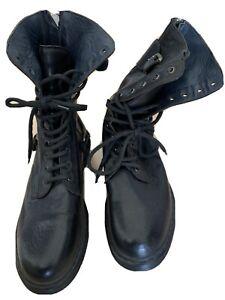 Diesel Black Gold Leder Combat Boots Gr. 45