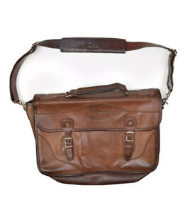 JW Hulme Co Leather Messenger Bag Brown Briefcase Shoulder Document