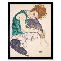 Egon Schiele Seated Woman Legs Drawn Up Adele Herms Painting 12X16 Framed Print