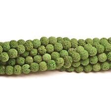 Lava Rock Stone Round Beads 10mm Green 35+ Pcs Dyed  Gemstones Jewellery Making