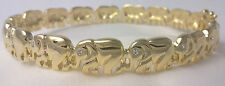 G-Filled Ladies 18ct yellow gold elephant bangle 66mm simulated diamond bracelet