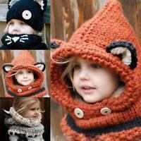 Beanie Baby Kid Animal Warm Fox Cat Hat Hooded Scarf Earflap Knitted Wool BT02