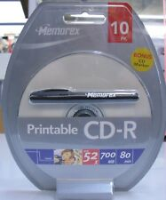 New Memorex CD-R 52x 700MB 80min Retail 10 Pack InkJet Printable with Marker Pen