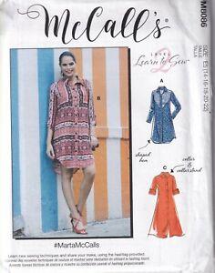 McCalls Sewing Pattern 8086 M8086 Women's Shirt Dress Pattern Size 14-22 NEW