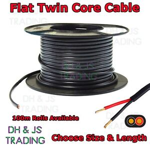 Flat Twin Core Cable Flexible Auto Car Marine 0.65mm - 2.0mm (5 Amp - 17.5 Amp)