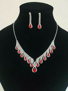 Women Fashion Red Necklace Set Party Wear UK Seller