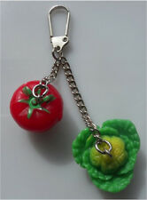 GIFT GORGEOUS HANDMADE TOMATO AND CABBAGE VEGETABLE HANDBAG CHARM/KEY RING