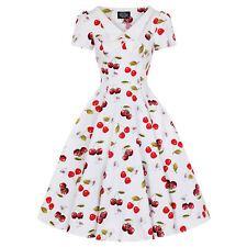Hearts and Roses London Kitsch Cherry Print 1950s Retro Vintage Rockabilly Dress