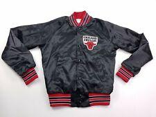 VTG 90's Chalk Line Boys Black Red Chicago Bull Snap Buttoned Jacket 18-20 XL