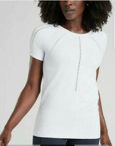 Athleta Foothill Tee Short sleeves top Bright White Size Medium  #335981