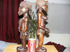 african carved wood ethnographic statues. pair, very rare, ivory coast, vintage.