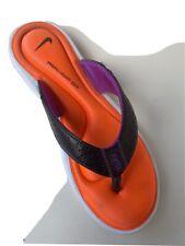 Nike Women 9 Sandals Thong Comfort Foot Bed Orange Black Purple Flip Flop Shoes