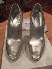 Women's Metallic Silver CASADEI  HIGH HEEL OPEN TOE Heels Size 7.5