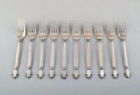 Georg Jensen Sterling Silver Acanthus lunch fork. 10 pieces in stock