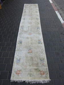 Beautiful antiques Chinese runner rug Carpets silk 360x70-cm / 141.7x27.5-inches