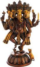 "Panchamukha Ganesha 5 Face Jai God Hindu Statue 15""Golden Brown Brass Figure 8KG"
