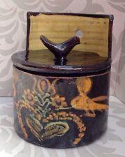 Vintage French Provincial Farmhouse Ceramic Nieve Pottery Salt Box Pot Bird Lid