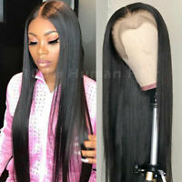 """24"""" Full Lace Wig Brazilian Real Straight Human Hair Lace Front Wigs Pre Plucked"""