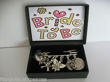 Silver Sixpence Six Charm Kilt Pin Something Blue Bride  Wedding  Gift Boxed