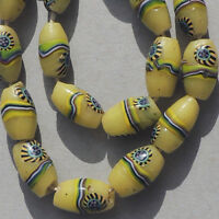 18 old antique venetian oval peacock millefiori african trade beads #4772