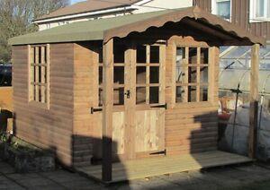 Summer House Log Cabin 10ft x 10ft Including 2ft veranda Office Bar Timber