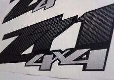 Z71 4x4 decal stickers carbon fiber and brushed chrome, silverado (set)
