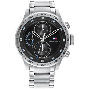 Tommy Hilfiger Men's Black Dial Silver Bracelet Watch 1791805 RRP £150