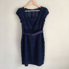 NANETTE LEPORE Women's Fringe Belted Navy Sheath Dress Sz 8